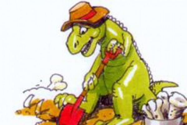 ტირანოზავრები შეშინებული დინოზავრის ნაკვალევზე