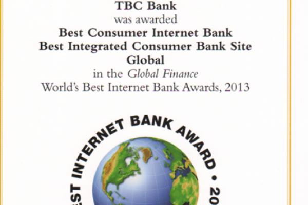 თიბისი ბანკის ინტერნეტ ბანკის სერვისი მსოფლიოში საუკეთესოდ აღიარეს!
