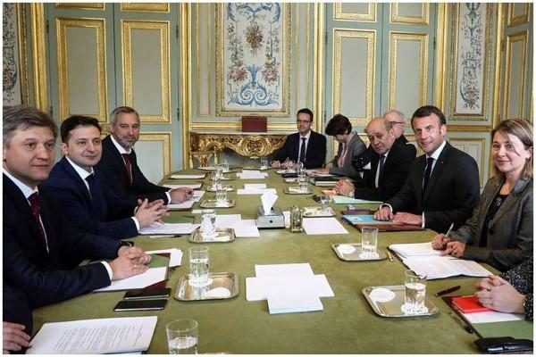 პარიზში ზელენსკისა და მაკრონის შეხვედრა გაიმართა