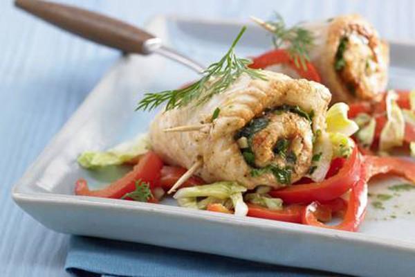 თევზის რულეტები სოკოსა და ყველის გულსართით