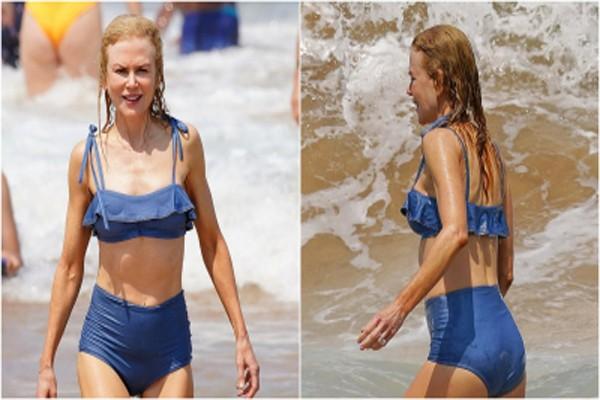 სხეულის იდეალური ფორმები 51 წლის ასაკში: ნიკოლ კიდმანი პაპარაცებმა სანაპიროზე დააფიქსირეს