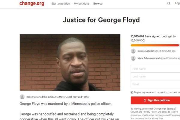 პეტიციას ჯორჯ ფლოიდის მკვლელობაში დამნაშავეების დასჯის მოთხოვნით 15-მა მილიონმა ადამიანმა მოაწერა ხელი